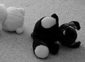 stuffed animals fallen over