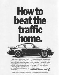 Porsche vintage advert beating traffic